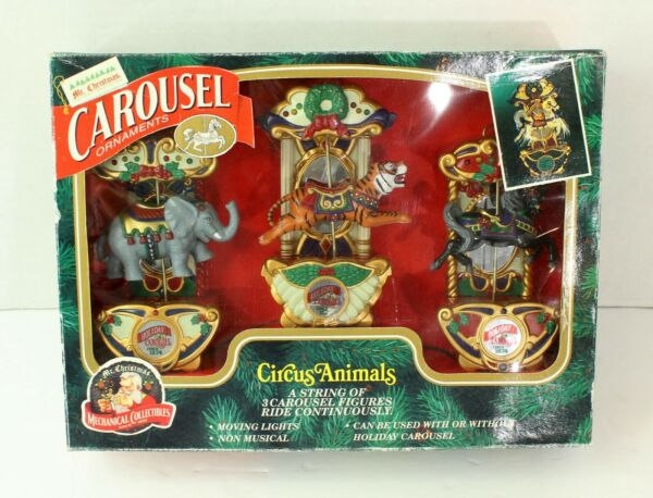 Mr. Christmas Carousel Ornaments Circus Animals Elephant Tiger Moving Lights VTG