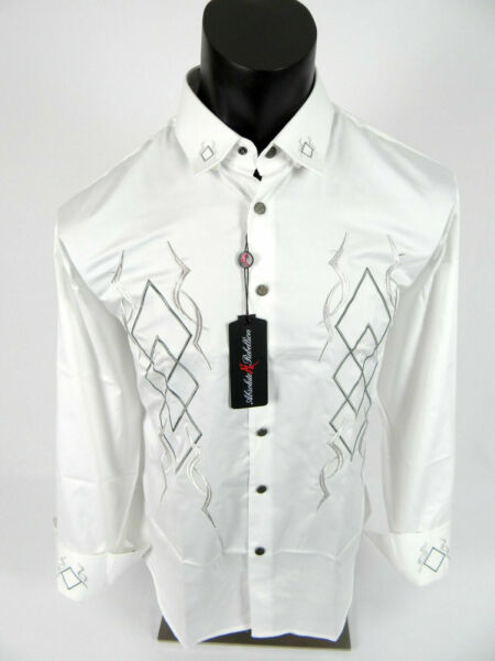 Mens Absolute Rebellion Shirt White Western Embroidered Snap Up VERSUS