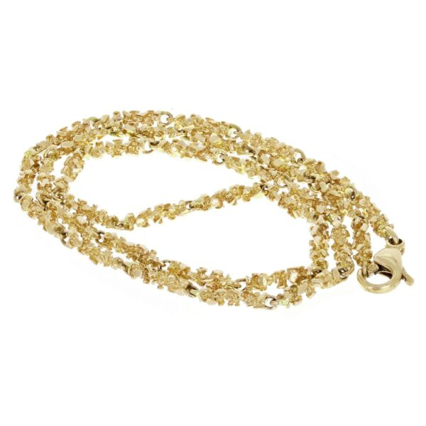 10k Yellow Gold Solid Nugget Link Necklace 24quot; 4mm 26.8 grams $1088.49