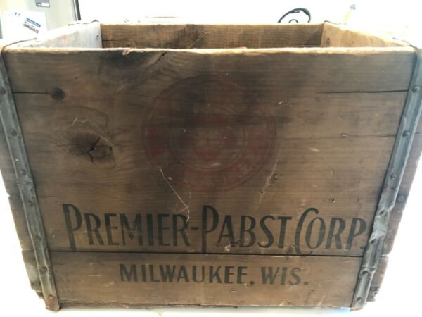 Vintage 1930 Wooden Beer Crate Pabst Premier Brewing Pabst Blue Ribbon Box