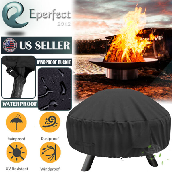 600D Heavy Duty Waterproof 30 inch Fire Pit Cover Patio Round Grill UV Protector $19.99