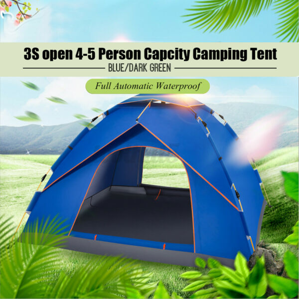 US 4 5 Person Full Automatic Waterproof Camping Tent Outdoor Sunshine $25.98