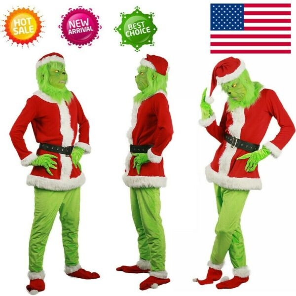 Adult The Grinch Costume Xmas Cosplay Men Christmas Santa Fancy Dress Outfit Set $53.19
