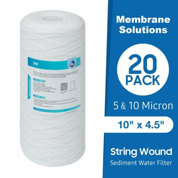 20 Pack 10quot; x4.5quot; Big Blue String Wound Sediment Whole House Water Filter 5amp;10μm $52.99