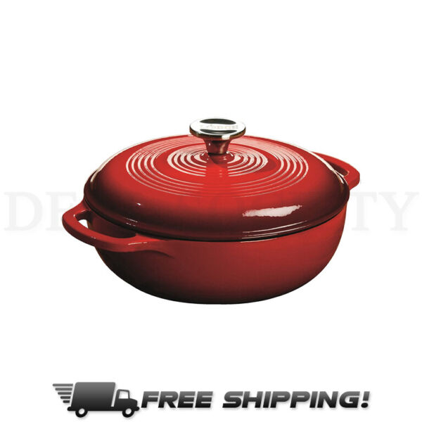 Lodge Enameled Cast Iron Dutch Oven w Lid 1.5 Quart Free Bonus Gift Red