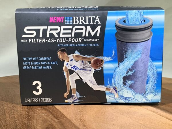New Brita Stream Pitcher Replacement Water Filters 3 Pack Activated Carbon