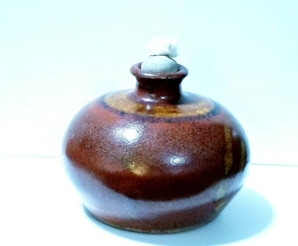 Vintage Stoneware Pottery Art Signed Round Oil Lamp with Stone Wick $9.50