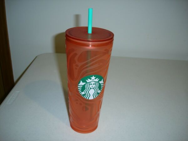 STARBUCKS 24 OZ INSULATED HOT OR COLD TRAVEL CUP WITH PLASTIC STRAW NEW