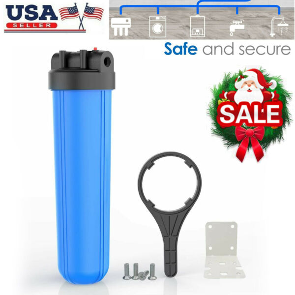 20quot; x 4.5quot; Big Blue Water Filter Housing For Whole House 1quot; Outlet Inlet Class