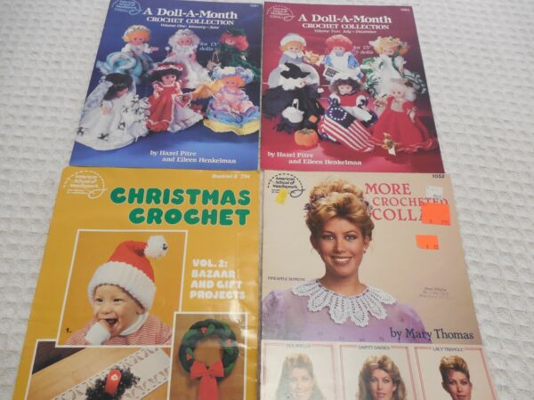 Lot of 4 Crochet Pattern Booklets Doll Clothes Christmas Collars Vintage Books $6.50