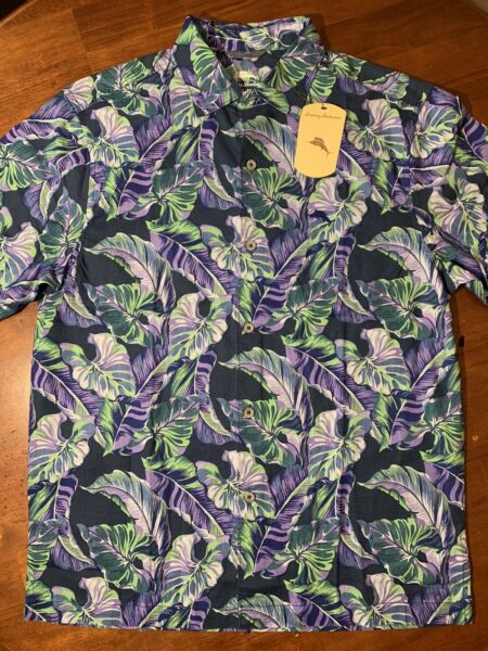 Tommy Bahama Tropical Navy SS Button Down Mens Large $99.50 $19.74