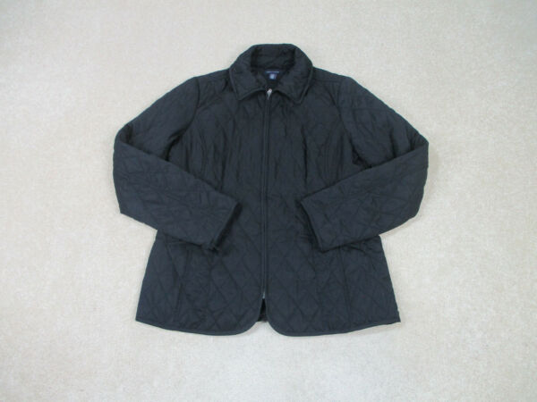 Tommy Hilfiger Jacket Womens Extra Large Black Quilted Full Zip Coat Ladies A22* $17.42