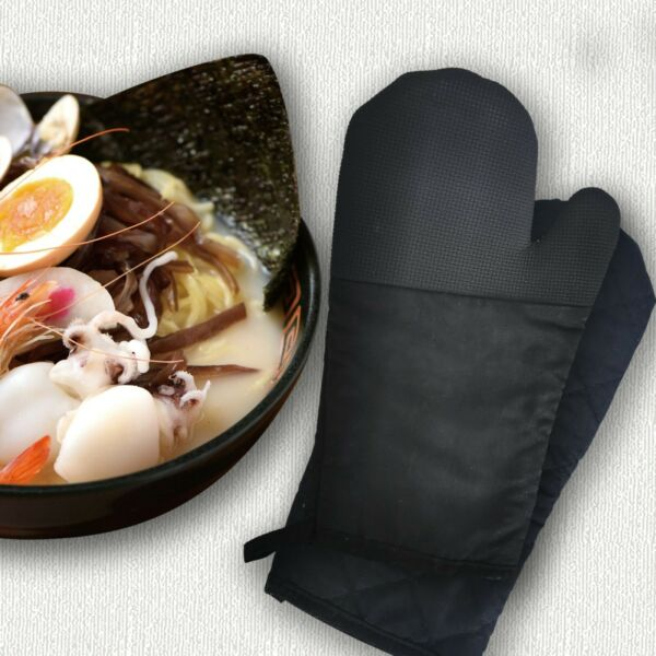 2 Pack Black Oven Mitts Non Slip Silicone Cotton Heat Resistant Kitchen Gloves