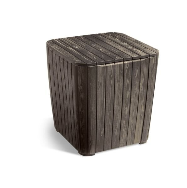 Outdoor Table Extra Hidden Storage Cushions amp; Patio Decor Brown Wood Look Sturdy $62.19
