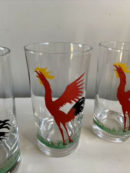 5 1 Federal RED COCK CRO Crowing ROOSTER Tall Tumblers Cocktail Glasses 5 1 4