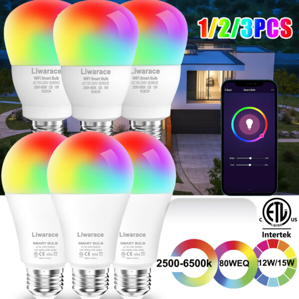 Smart LED Light Bulb 12W 70W E26 A19 Multi Color Dimmable For Alexa Google Home