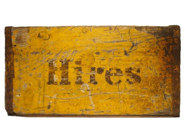VINT HIRES ROOT BEER WOOD BOX SODA CRATE W GLDN YLLW PAINT BROWN STENCILED FONT