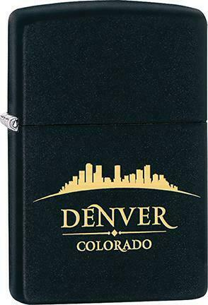 Zippo Windproof Metal Fire Lighter Denver Colorado Skyline Gold and Black