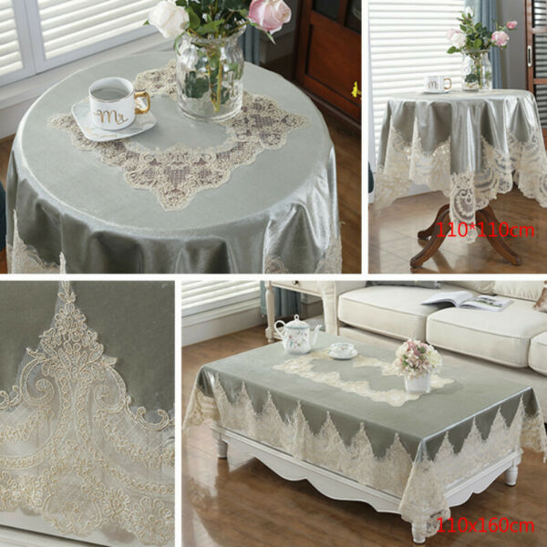 Lace Embroidery Tablecloth Velvet European Table Cover Rectangular Round Covers $44.61