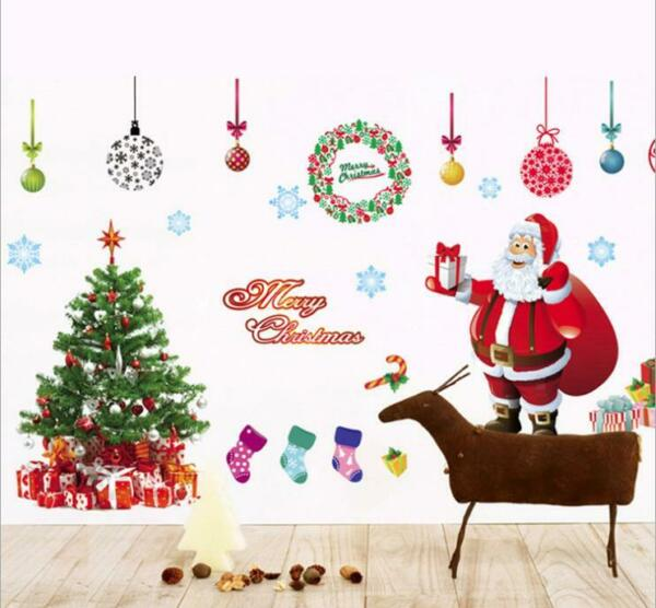 Christmas Tree Boxing Santa Claus Clings Wall Decor Glass Window Door Sticker $10.99