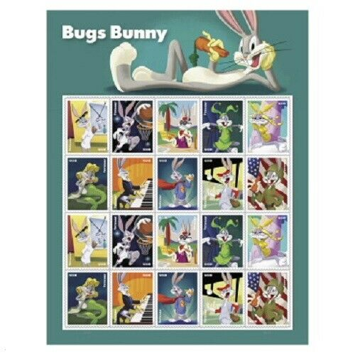 Bugs Bunny 20 FOREVER STAMP SHEET $15.00