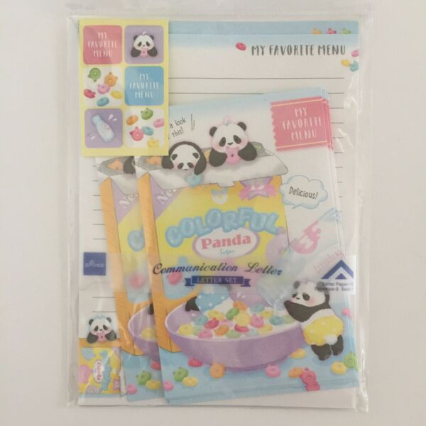Letter Set Stationary Pandas With Colorful Cereal Japanese Kawaii Stationary $7.20