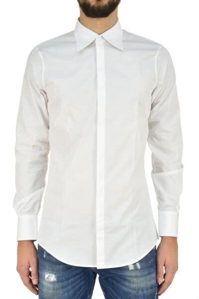 Dsquared2 Shirt Man TAILOR MADE White Cotton Buttons Mod.S74DL0993S36275100 $207.51