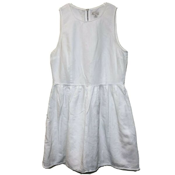 Gap Womens Linen Fit amp; Flare Dress Size 8 White Pleated Full A Line $14.99