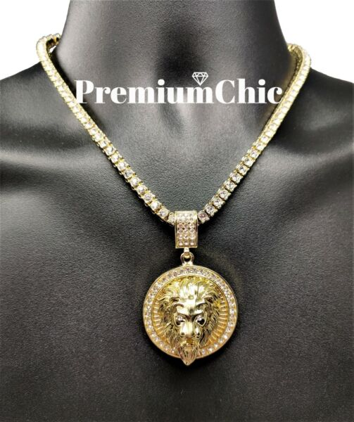 ICED Crowned Lion Pendant Necklace with Rope or Tennis Chain Men Hip Hop Jewelry $15.99