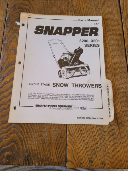 Vintage Parts Manual Snapper 3200 3201 Series Single Stage Snow Throwers
