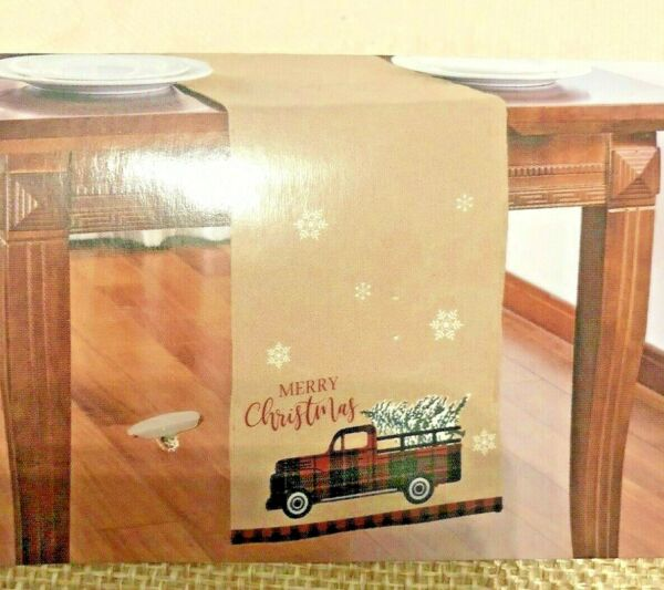 "Coutnry Old Farm Truck Christmas Tree Burlap Table Runner 13""x68"" NWT"