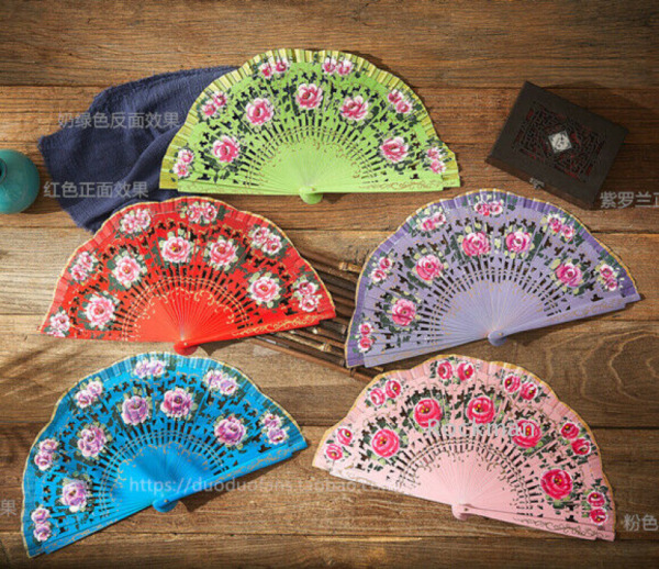 Womens Spanish Style Wood Fan Flower Fan Folding Hand Held Dancing Fan Cosplay $17.85