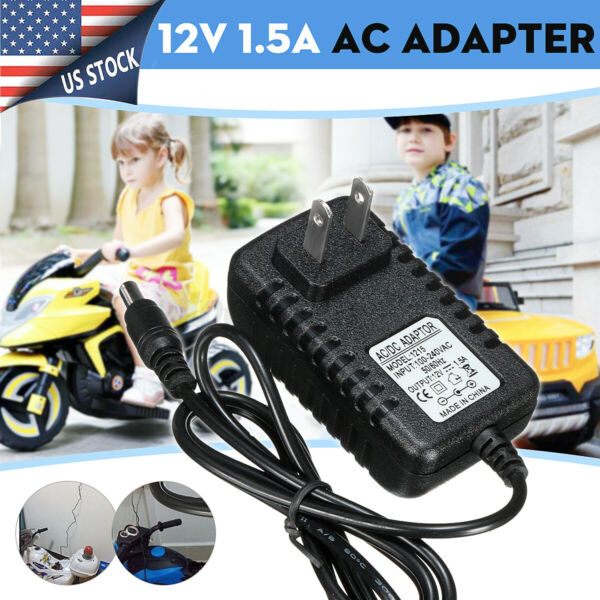 12V 1A AC DC Adapter Wall Battery Powered Charger For Kids ATV Quad Ride On Car $7.59