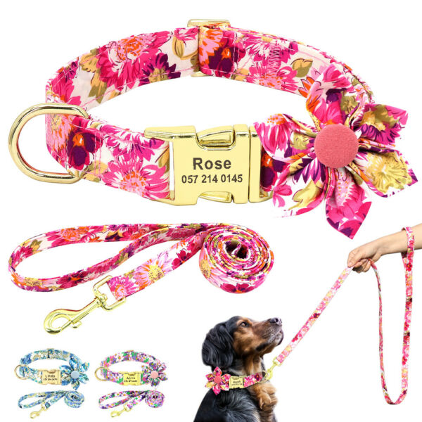 Flower Dog Personalized Collar with Leash set Gold Custom Engraved Nameplate S L $14.99