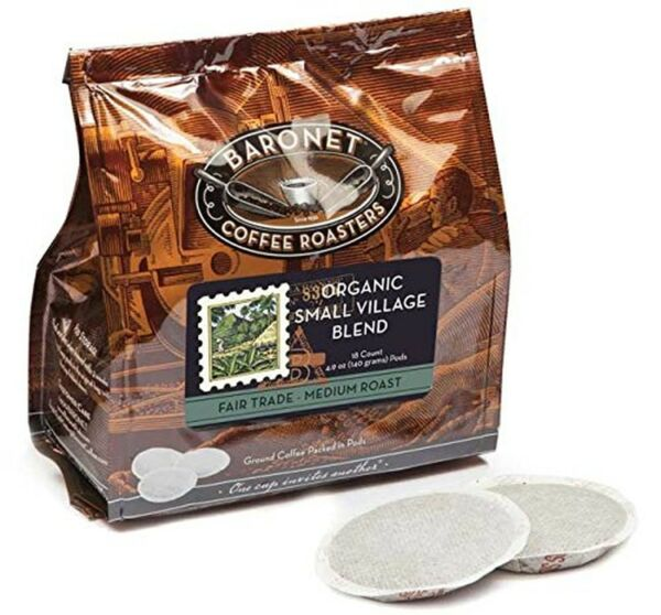Baronet Coffee Fair Trade Organic Small Village Blend Coffee Pods Bag 54 Count