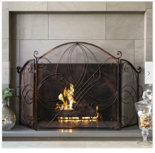3 Panel Wrought Iron Metal Fireplace Screen Cover Vintage Decor Safety Fire Door