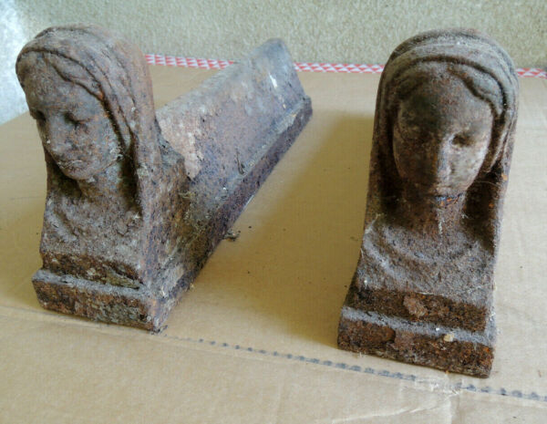 Antique Pair Fire Dogs Cast Iron Head Woman Support Fireplace Cast Iron Andirons
