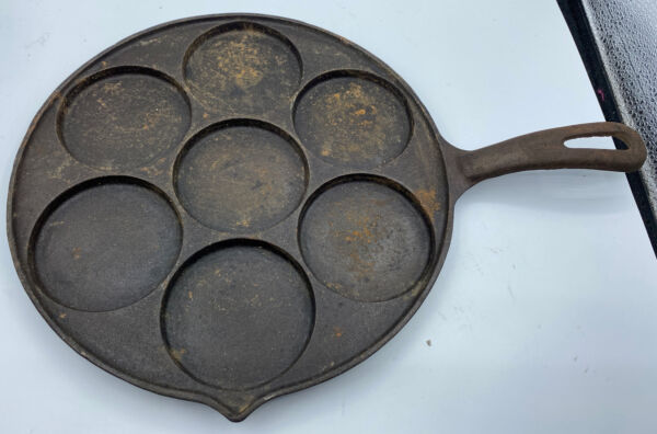 ANTIQUE Vintage Griswold Cast Iron Plett Swedish Pancake Skillet Pan NO. 34 RARE
