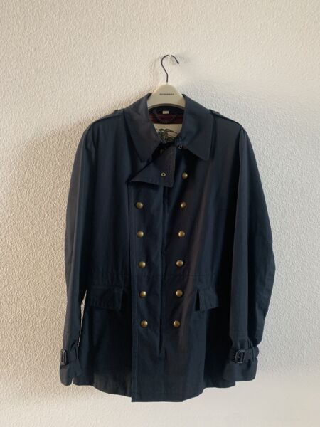 Burberry Mens Military Trench Coat Navy Blue Made In England $295.00