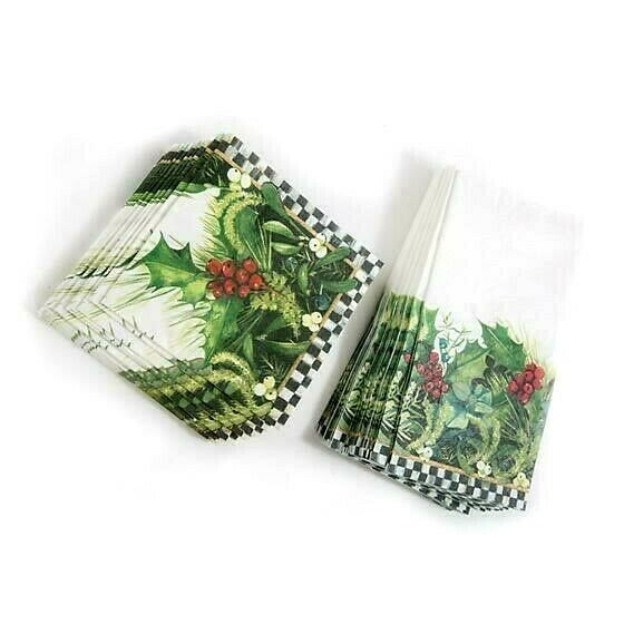 MACKENZIE CHILDS HOLLY amp; BERRY GUEST amp; COCKTAIL HOLIDAY CHRISTMAS PAPER NAPKINS