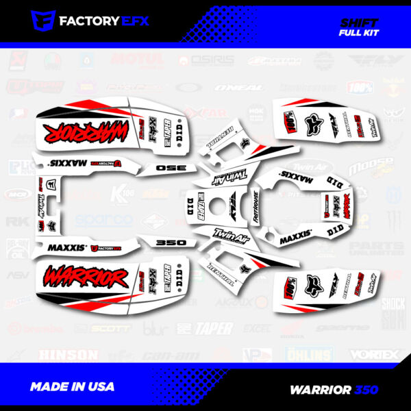 White Red Shift Racing Graphics kit fits Yamaha Warrior 350 87 04 electric start $89.99