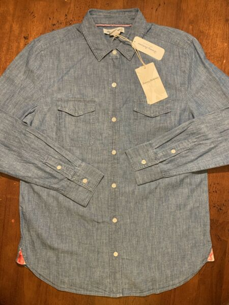 Tommy Bahama Denim Embroidered LS Shirt Womens Small $145 $24.97