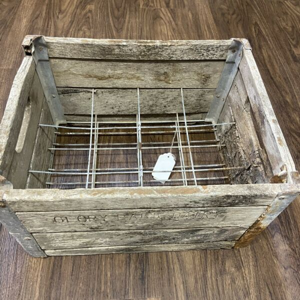 Vintage Antique Wood and Metal Milk Crate 12 Pack Carrier Rustic Home Decor