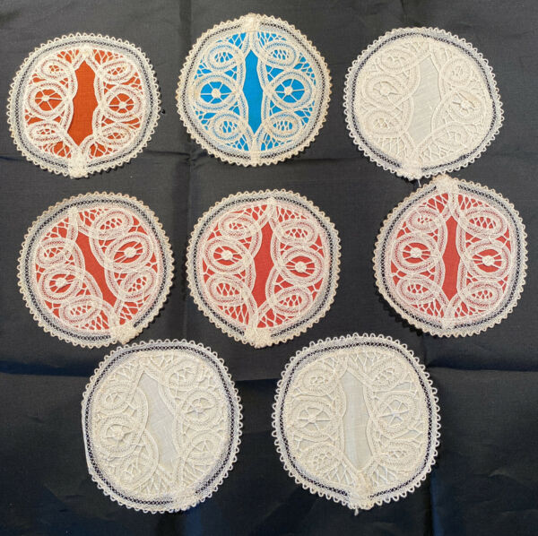 Vintage Set 8 Hand Made Lace Round Covers Coasters For Wine Glass Bottoms $19.99