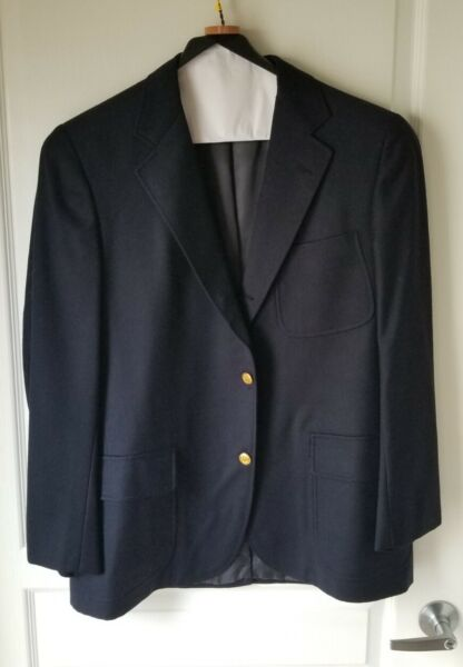 SOUTHWICK Mens Navy Blazer 40R Wool Flannel Brass Buttons Made in USA 3 2 Roll $69.99