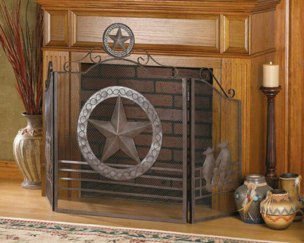 NEW Lonestar Sheriff Wrought Iron Black Antique Vintage Style Fireplace Screen