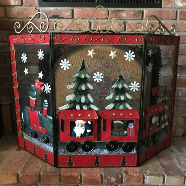 Christmas Fireplace Screen Large Wrought Iron Mesh Hand Painted Train Scene
