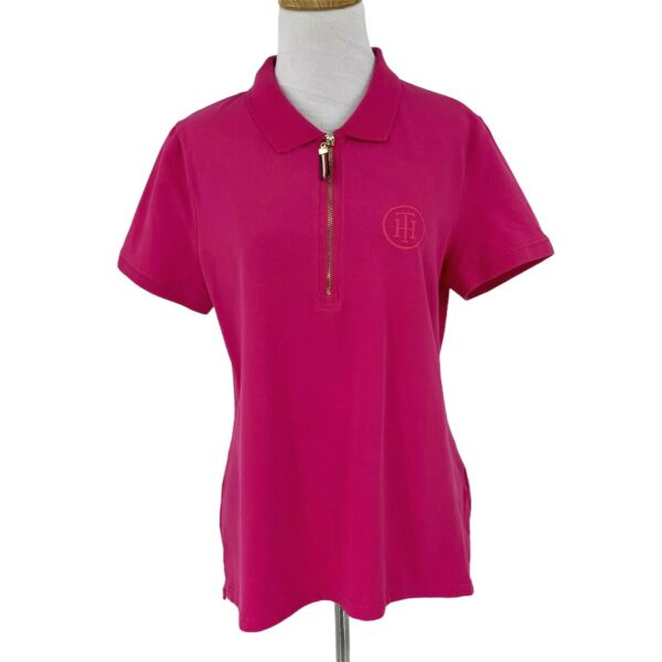 Tommy Hilfiger Polo Shirt Women#x27;s Size L Hot Pink Short Sleeve Stretch Golf Tee $19.94