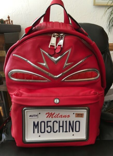 Moschino Red Leather Cadillac style by Jeremy Scott Backpack retailed $2295 $699.99