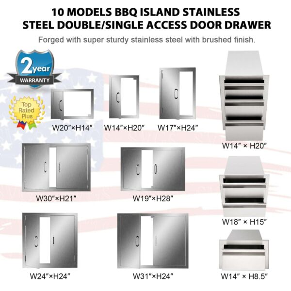 BBQ Multi size Double Single Doors Drawer Outdoor Kitchen Stainless Steel Access